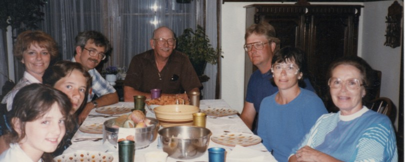 From left to right: me, my cousin Michael, my mom, my dad, my grandpa, my aunt & uncle, my Grandma Jerry.